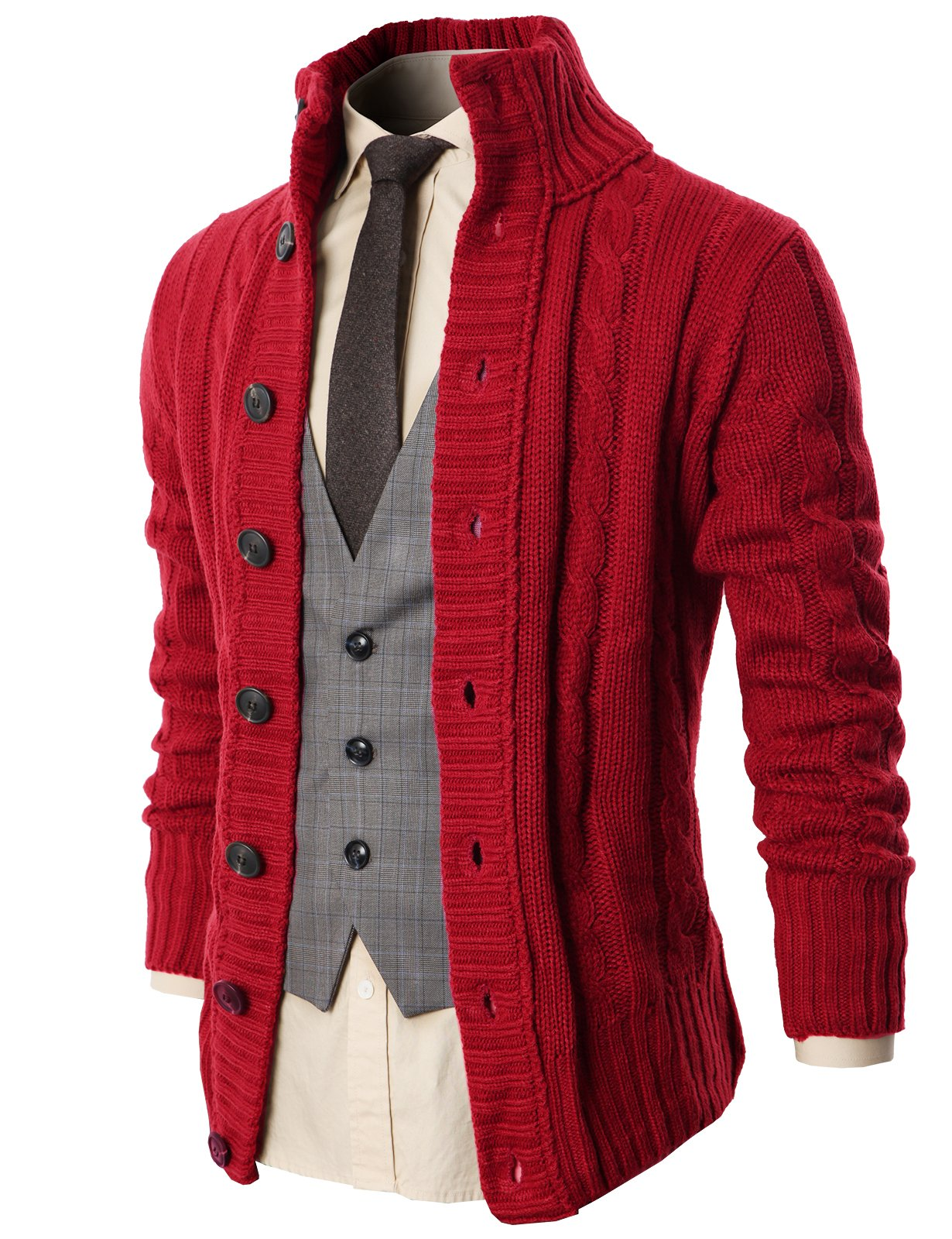 H2H Mens Regular Fit Ribbed Knit Cardigan With Pockets WINE US M/Asia L (KMOCAL020)