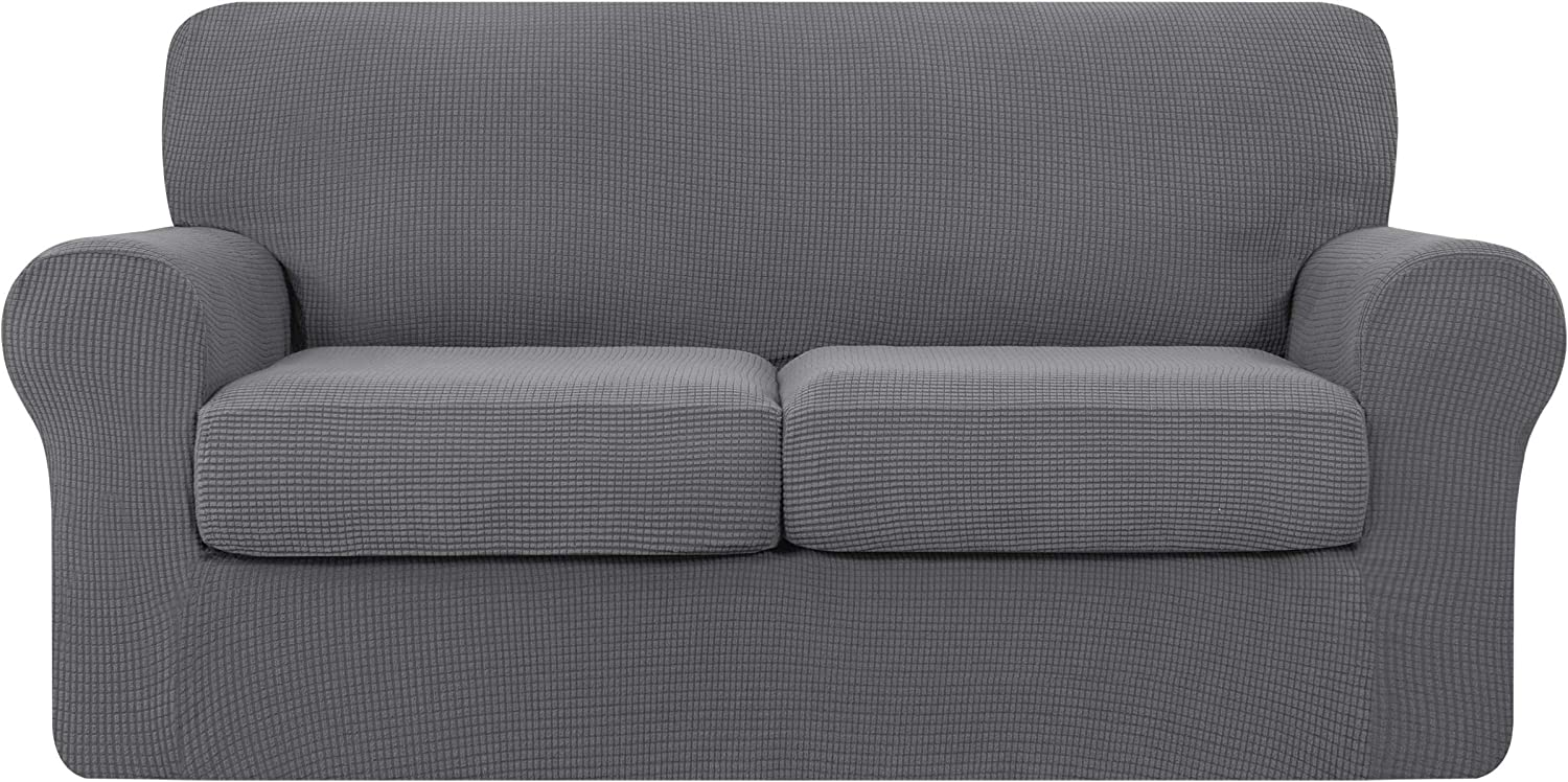 TOYABR 3 Pieces Sofa Cover with 2 Separate Cushions, Removable Washable Couch Slipcover, High Stretch Soft Jacquard Furniture Protector for Pets and Kids (Medium,Light Gray)