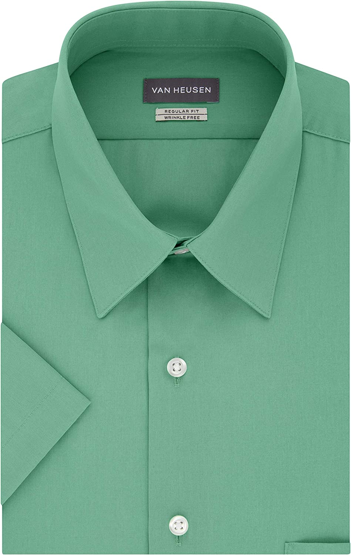 Van Heusen Men's Short Sleeve Dress Shirt Regular Fit Poplin Solid