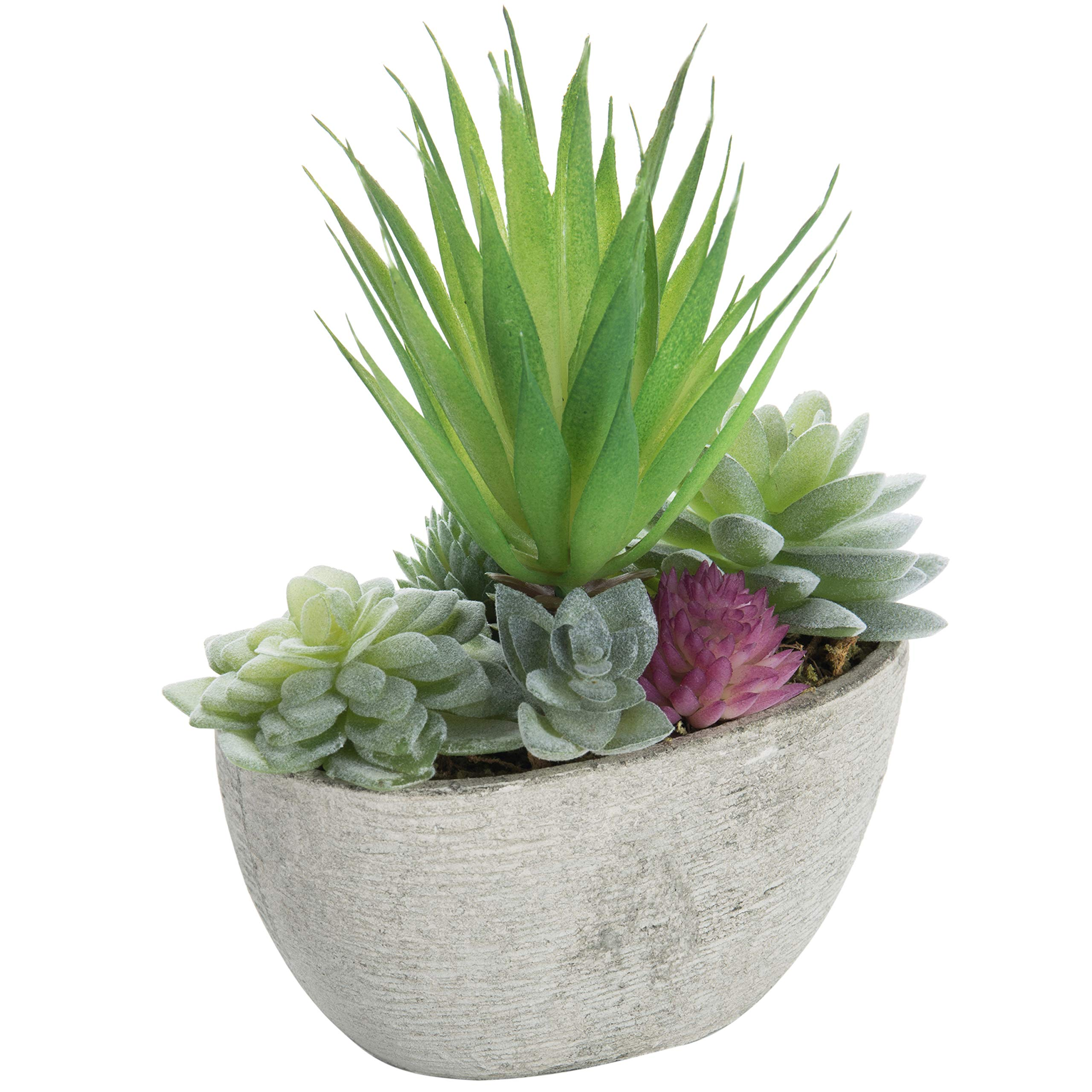 MyGift Miniature Faux Succulent Arrangment in Cement-Gray Pulp Planter