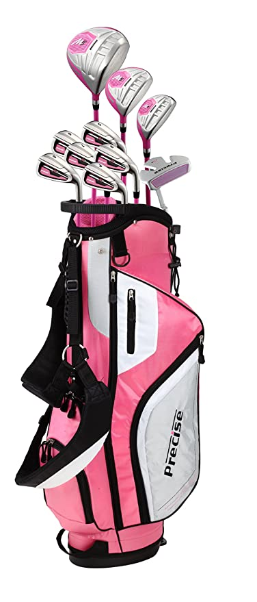 Precise M5 Ladies Womens Complete Right Handed Golf Clubs Set Includes Titanium Driver, SS Fairway, SS Hybrid, SS 5-PW Irons, Putter, Stand Bag, 3 ...