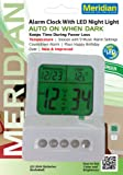 Meridian Electric 10916 Digital Alarm Clock with LED Night Light, Silver