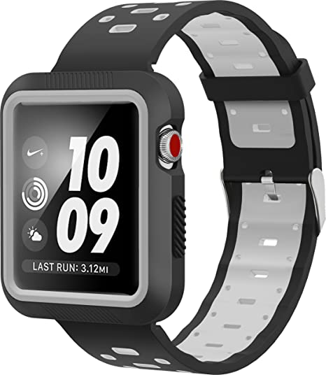 SELLERS360 for Apple Watch Band 42mm with Case for Series 1 Series 2 Series  3,Soft Durable Nike + Sports Edition Replacement Wrist Strap for iWatch ...