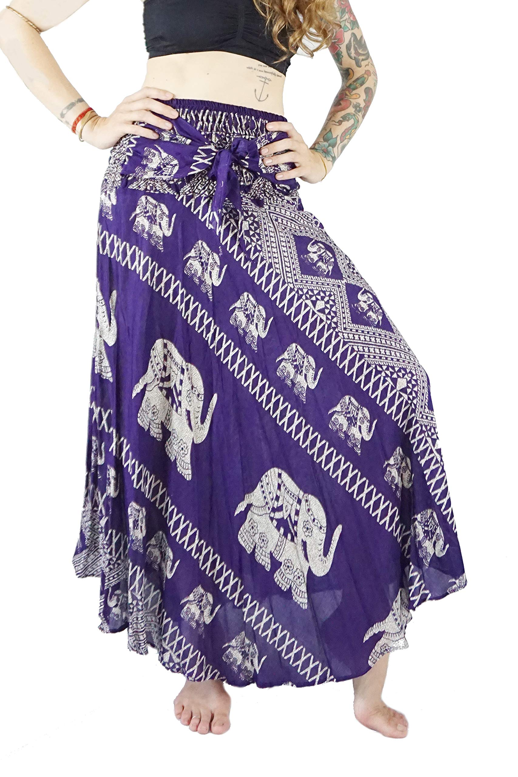 Boho Vib Women's Long Bohemian Summer Skirt Dress Plus Size Elephant 1 Purple