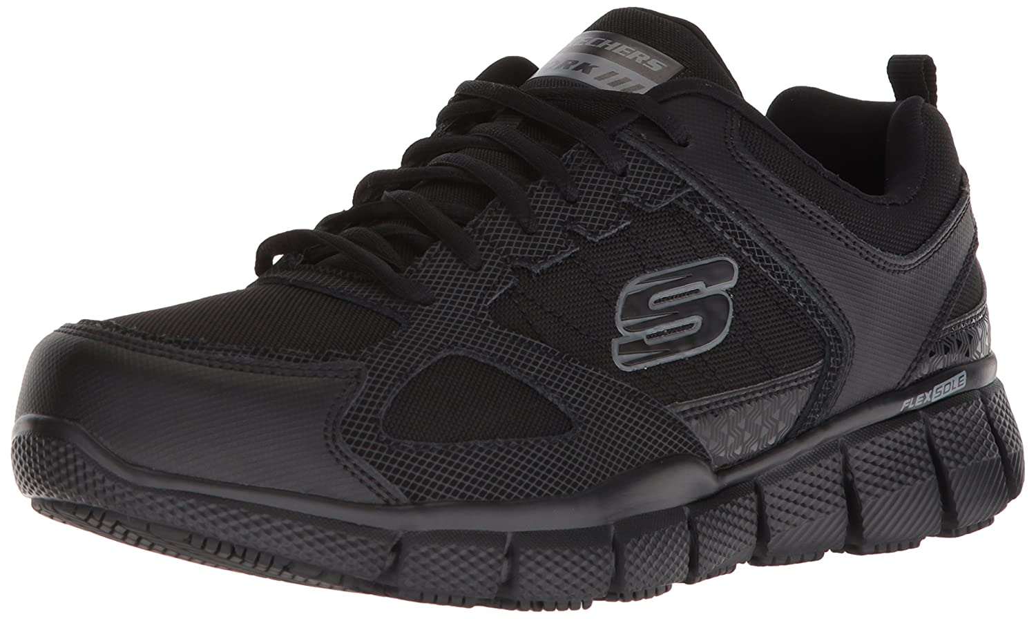 Skechers Men's Telfin-Sanphet Industrial zapatos, negro Leather Courdura, 10 W US