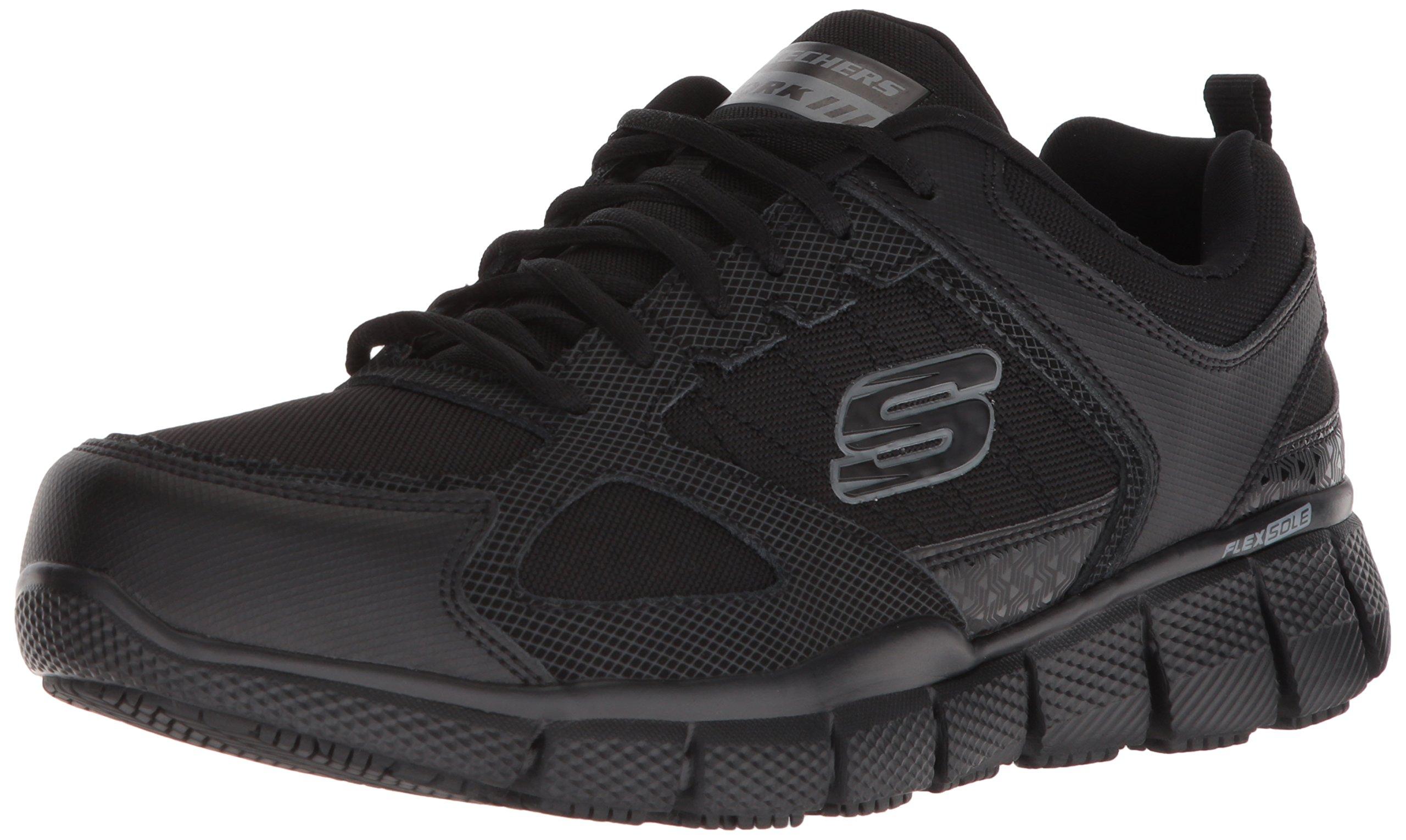 Skechers Work Men's Telfin-Sanphet Industrial Shoe, Black Leather Courdura, 10 M US