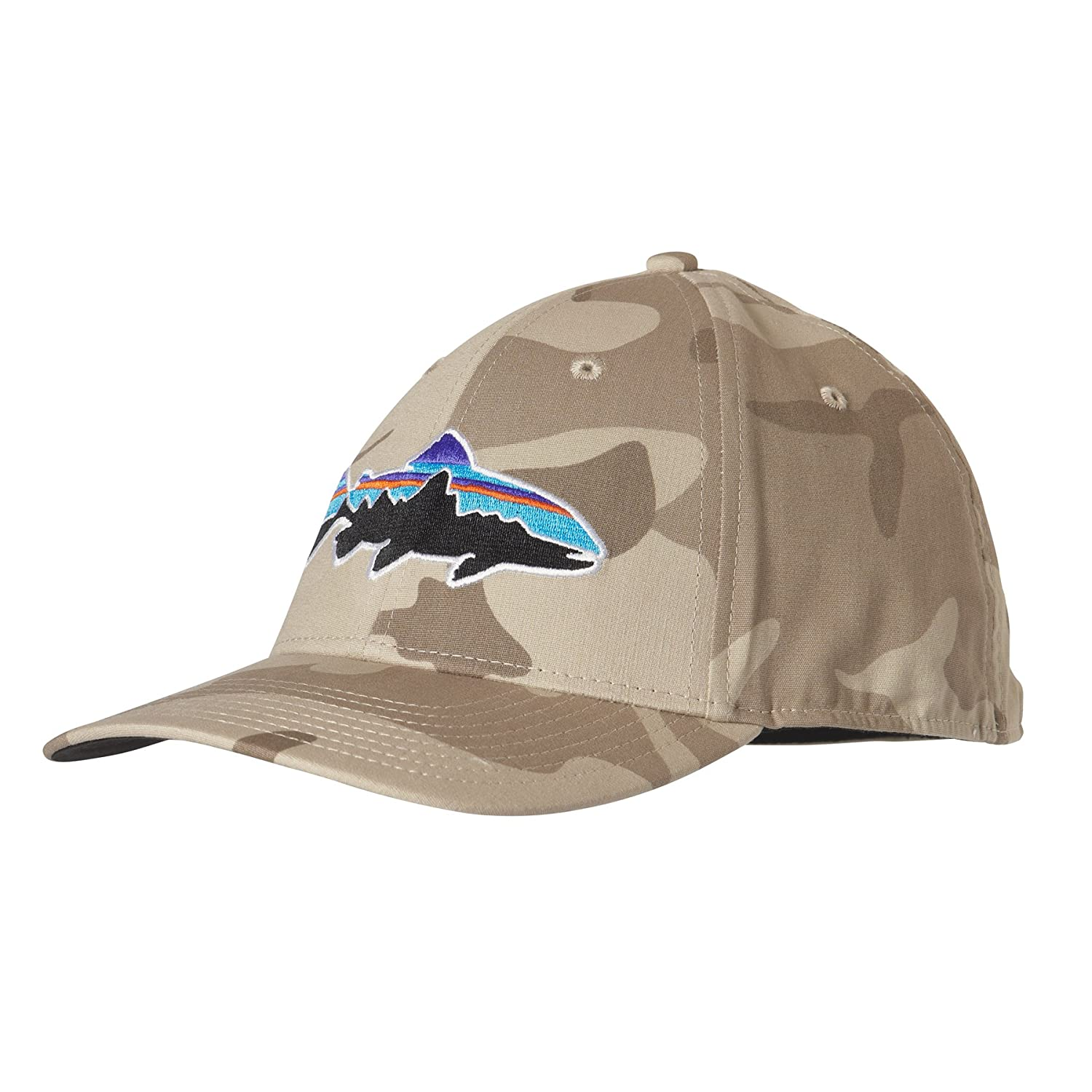 09226d84061be Patagonia Forest Camo El Cap Khaki Fitz Roy Trout Stretch Fit Hat   Amazon.ca  Clothing   Accessories
