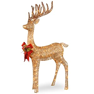 National Tree 48 Inch Sisal Splendor Champagne Standing Deer with 105 Mini Clear Lights (DF-105010U)