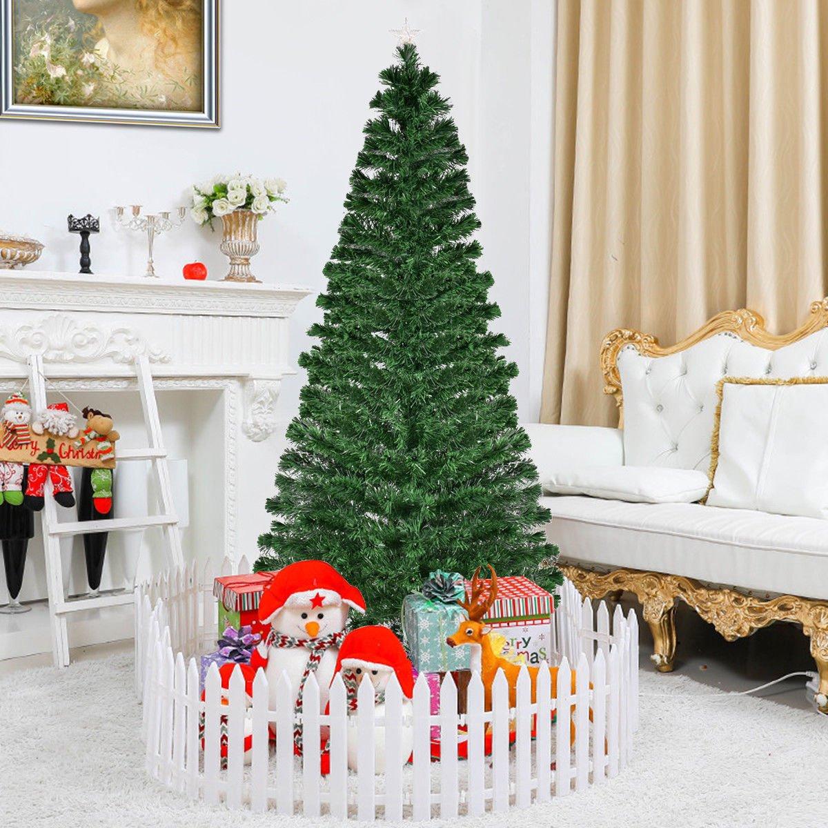 Amazon.com: Goplus 7FT Pre-Lit Artificial Christmas Tree Optical ...