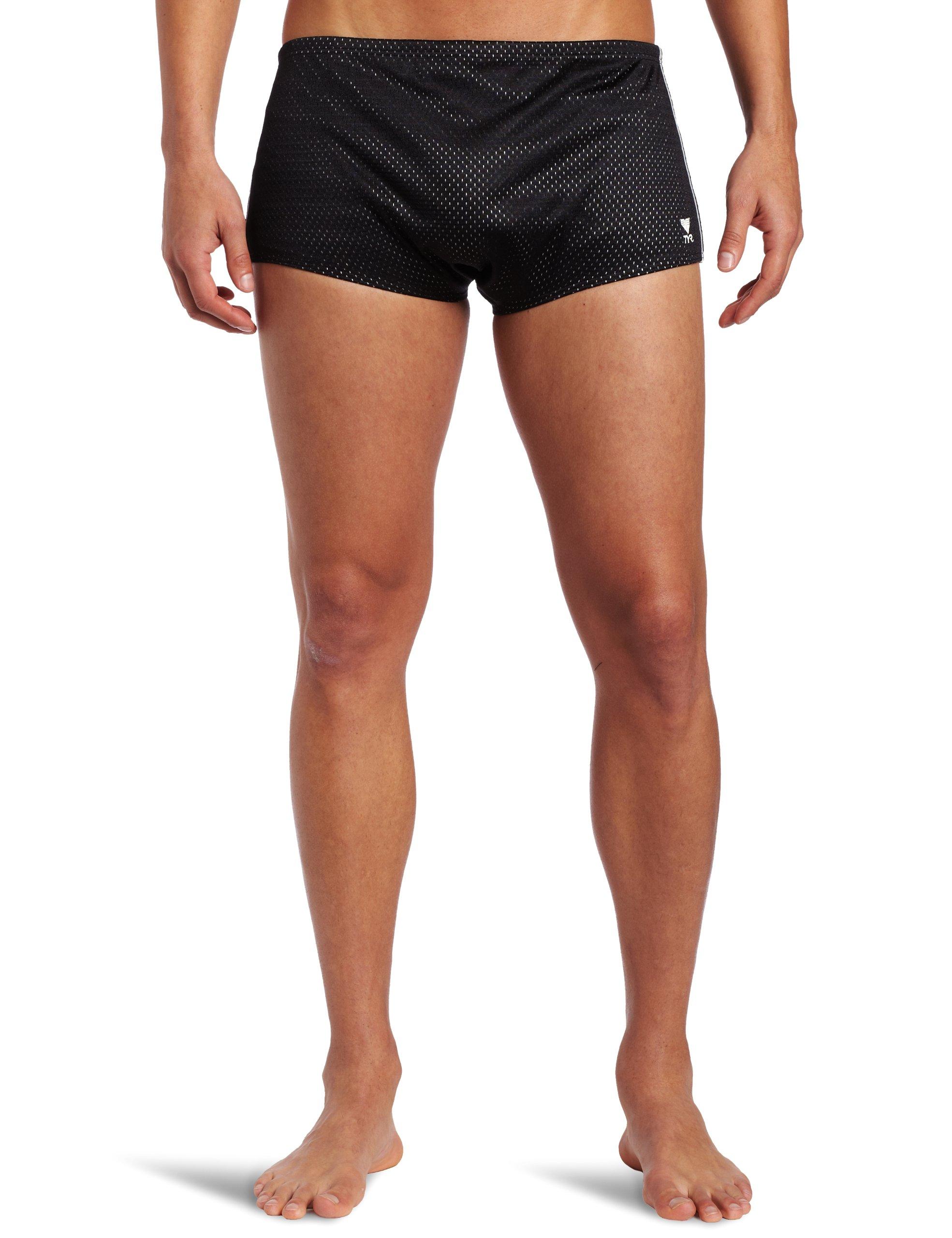 TYR  Men's Poly Mesh Trainer Swim Suit (Black, 32)