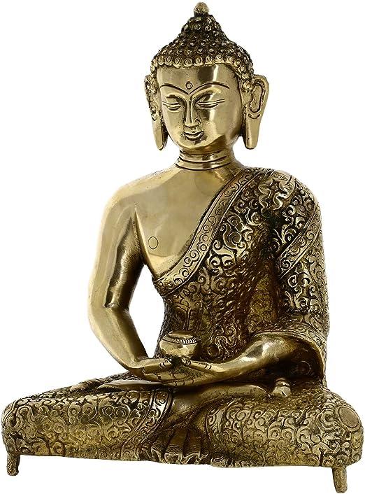 El Budismo Decoración Arte Metal Buda Estatua Budista Meditando 20,32 Cm: Amazon.es: Jardín