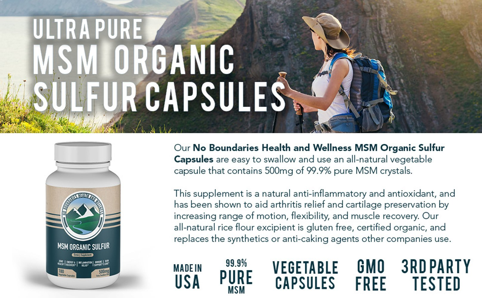 500mg MSM Organic Sulfur Capsules by No Boundaries Health and Wellness –  180 Vegetable Capsules: No Excipients or Fillers – Premium Health  Supplement: