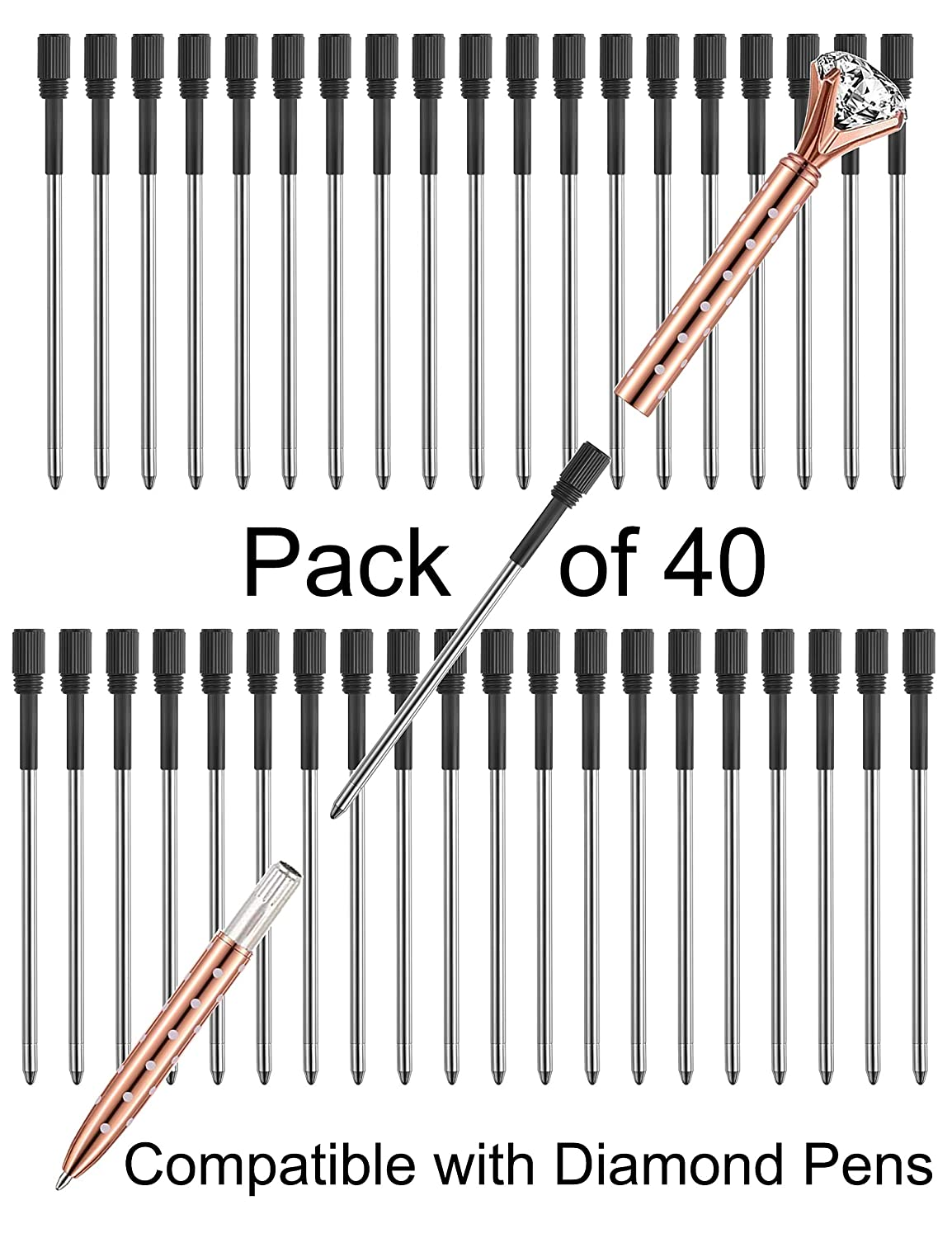 """Pen Refills Replacement Ballpoint 3 2'' inch (can be cut into 2 75"""") for  Pens with Big Diamond Crystal on Top Diamond Crystal Stylus Pens Metal  Refill"""