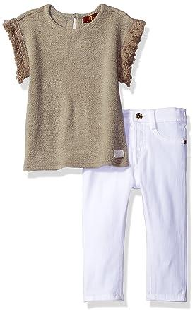630d0d95a7d Amazon.com  7 For All Mankind Baby Girls  2 Piece Summer Sweater and Denim  Short Set