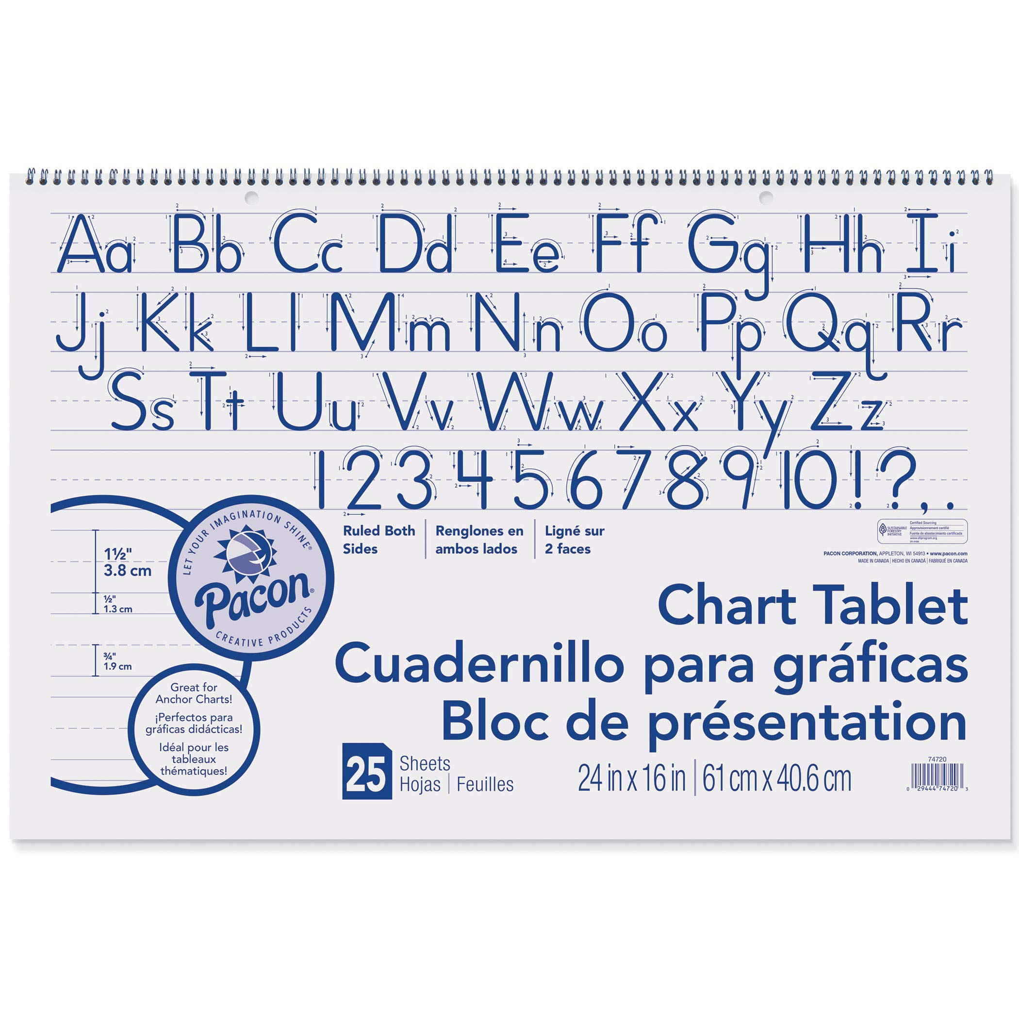 Pacon PAC74720BN Chart Tablet, Manuscript Cover, 1-1/2'' Ruled, 24'' x 16'', 25 Sheets, Pack of 6 by PACON
