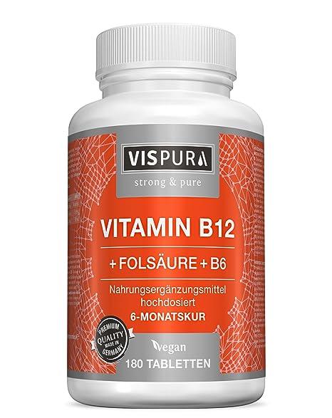 Vitamina B12 altamente concentrada, 1000 µg con fórmula VITAL + vitamina B6 metilcobalamina, 180 comprimidos VEGANOS, producto alemán de calidad ...