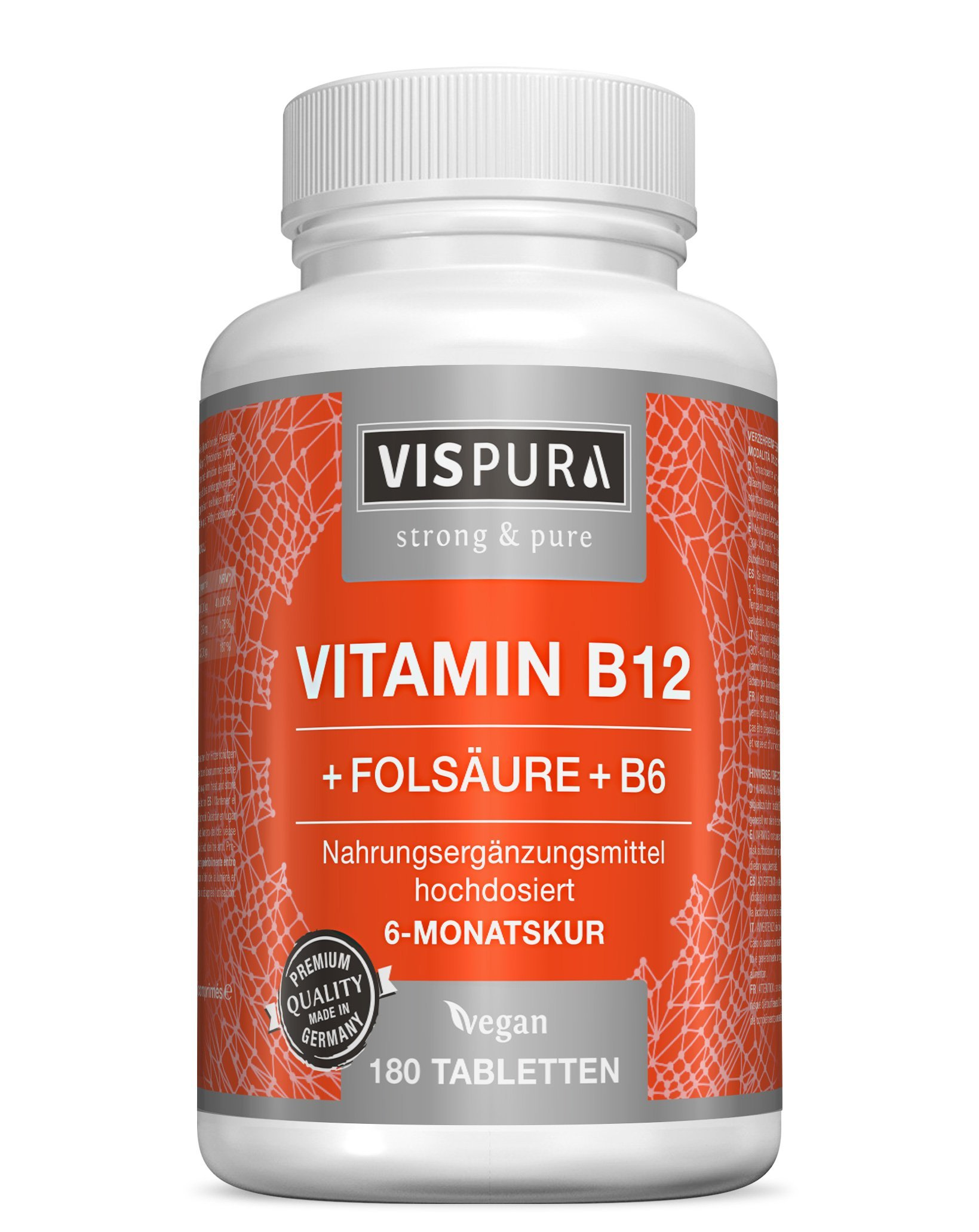 Vitamina B12 altamente concentrada, 1000 µg con fórmula VITAL + vitamina B6 metilcobalamina, 180