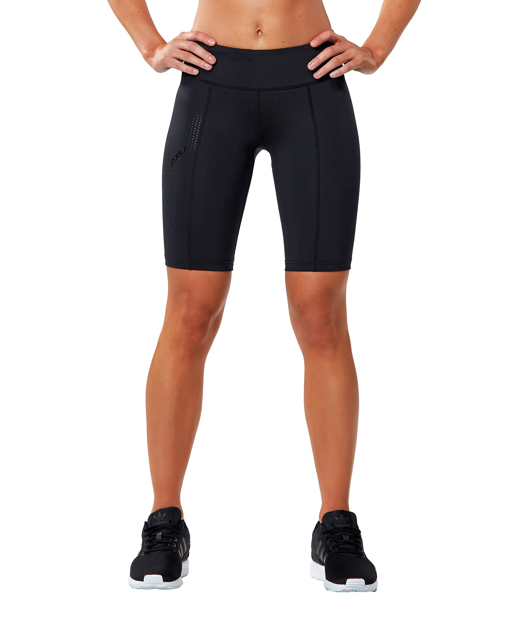 2XU Women's Mid-Rise Athletic Compression Shorts, Black/Dotted Black Logo, X-Small by 2XU (Image #2)