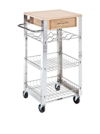 Küchenwagen metall  Amazon.de: Tomasucci 0583 Light Küchenwagen, Metall Verchromt/holz