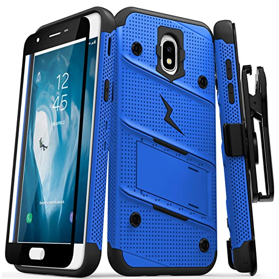 sneakers for cheap 3f9be f9b8d Zizo Bolt Series Compatible with Samsung Galaxy Amp Prime 3 Case Military  Grade Drop Tested with Tempered Glass Screen Protector Holster Blue Black