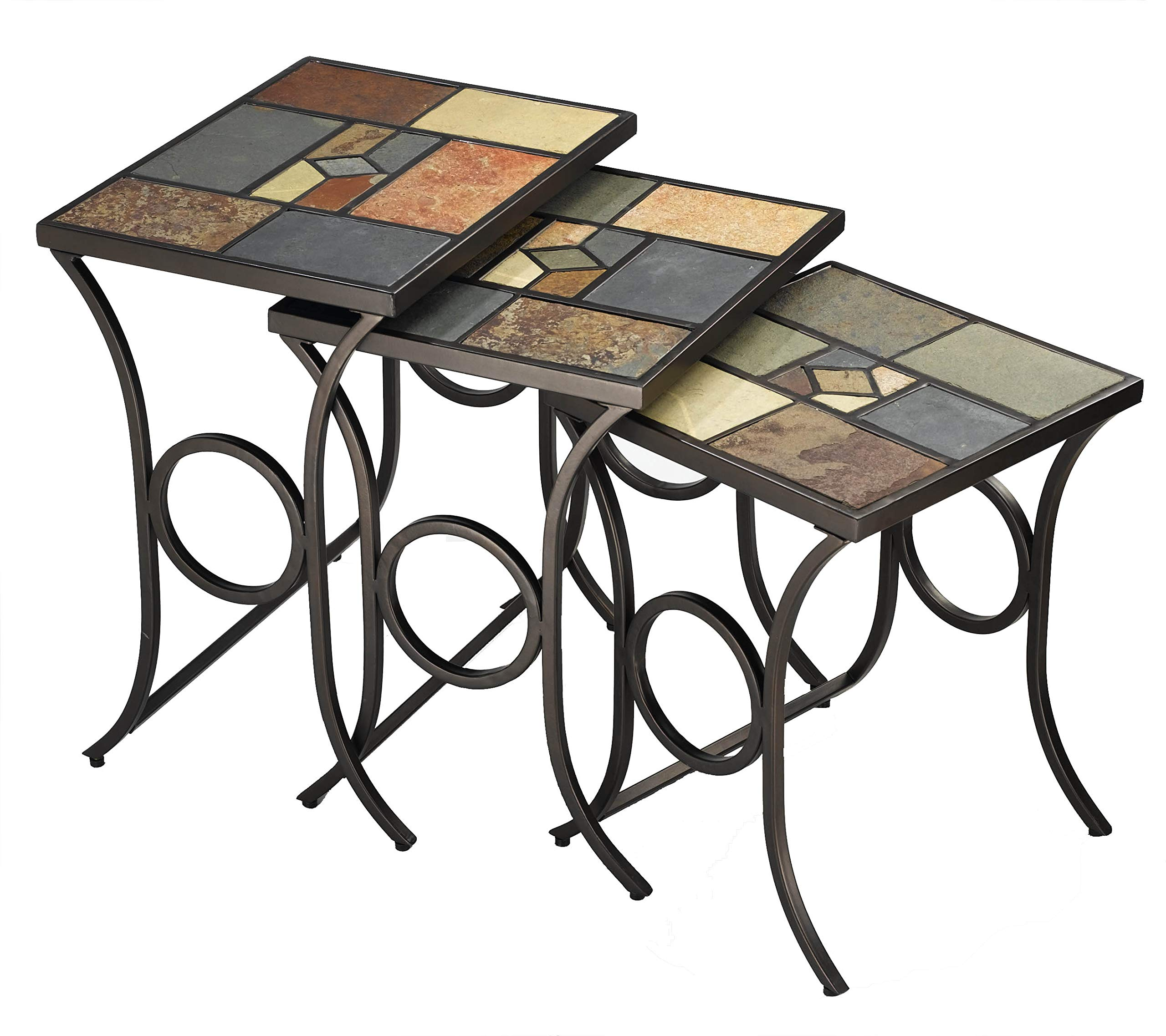 Hillsdale Furniture Pompeii Nesting Tables, Black gold metal with slate mosaic by Hillsdale Furniture