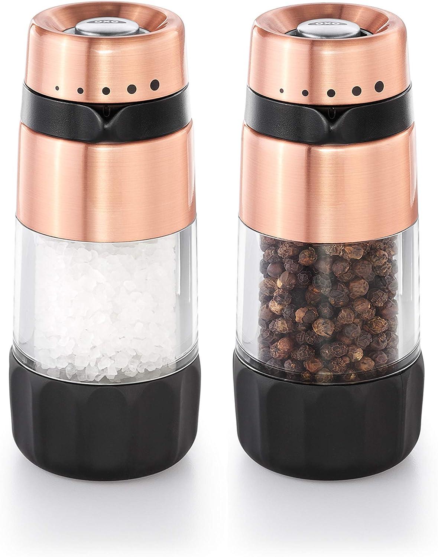 Copper OXO Good Grips Accent Mess-Free Salt//Pepper Grinder Set
