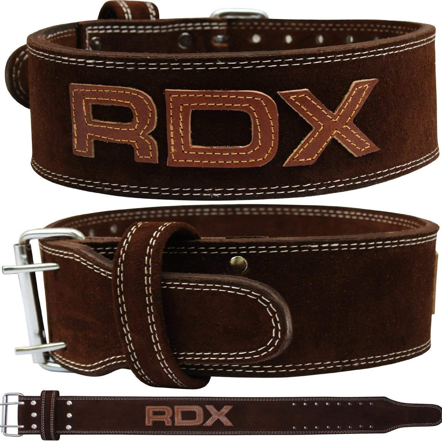 "RDX Powerlifting Belt for Weight Lifting Gym Training - Double Prong Leather Belt 10mm Thick 4"" Lumbar Back Support"