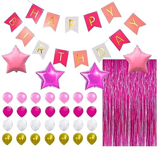 PINK HAPPY BIRTHDAY BANNER DECORATIONS