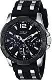 GUESS Men's U0366G1 Black Sporty Silver Silicone & Silver-Tone Watch with Day, Date & 24 Hour Int'l Time