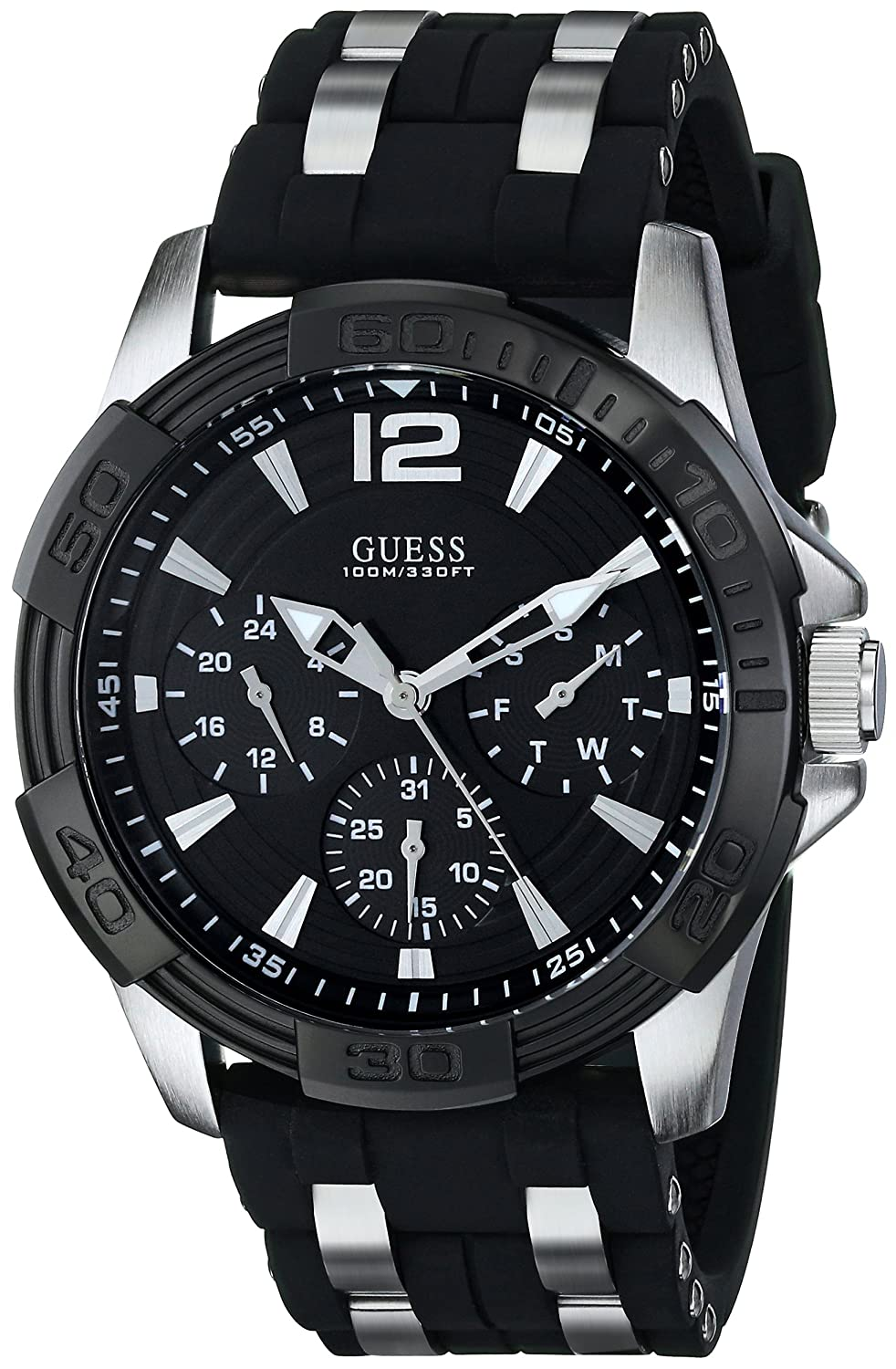 Guess Black Stainless Steel Stain Resistant Silicone Watch With Day Date 24 Hour Military Int L Time Color Black Model U0366g1