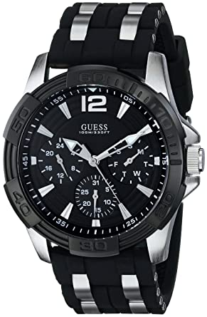 041b998e5 Amazon.com: GUESS Black Stainless Steel Stain Resistant Silicone ...