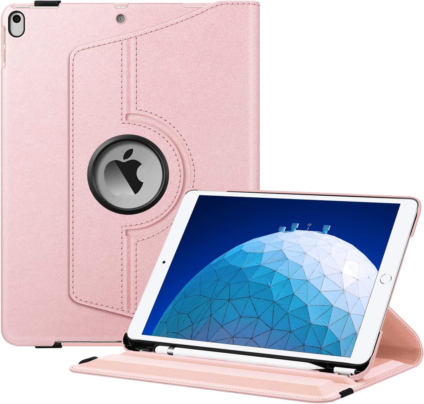 "Fintie Rotating Case for iPad Air (3rd Gen) 10.5"" 2019 / iPad Pro 10.5"" 2017-360 Degree Rotating Stand Protective Cover with Built-in Pencil Holder, Auto Sleep/Wake (Rose Gold)"
