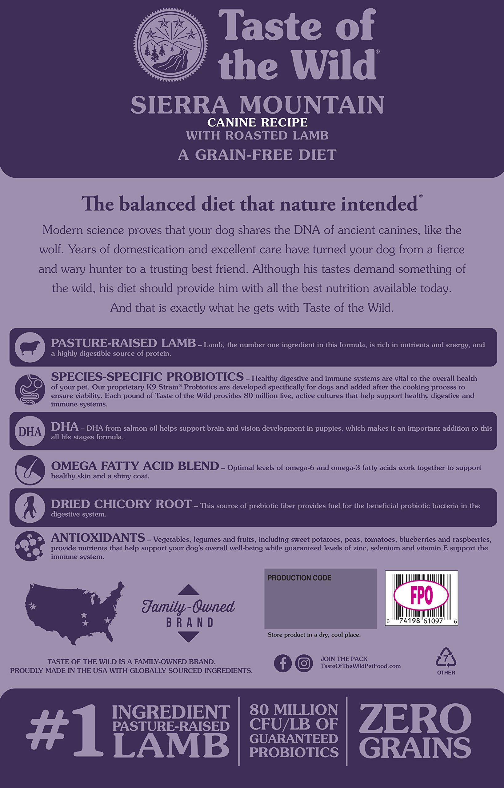 Taste of the Wild Grain Free High Protein Real Meat Recipe Sierra Mountain Premium Dry Dog Food, 28 lb by Taste of the Wild (Image #2)