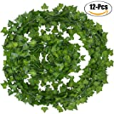 Artificial Ivy, Outgeek 12 Strands 84 Ft Silk Fake Ivy Leaves Hanging Vine Leaves Garland for Wedding Party Garden Wall Decoration