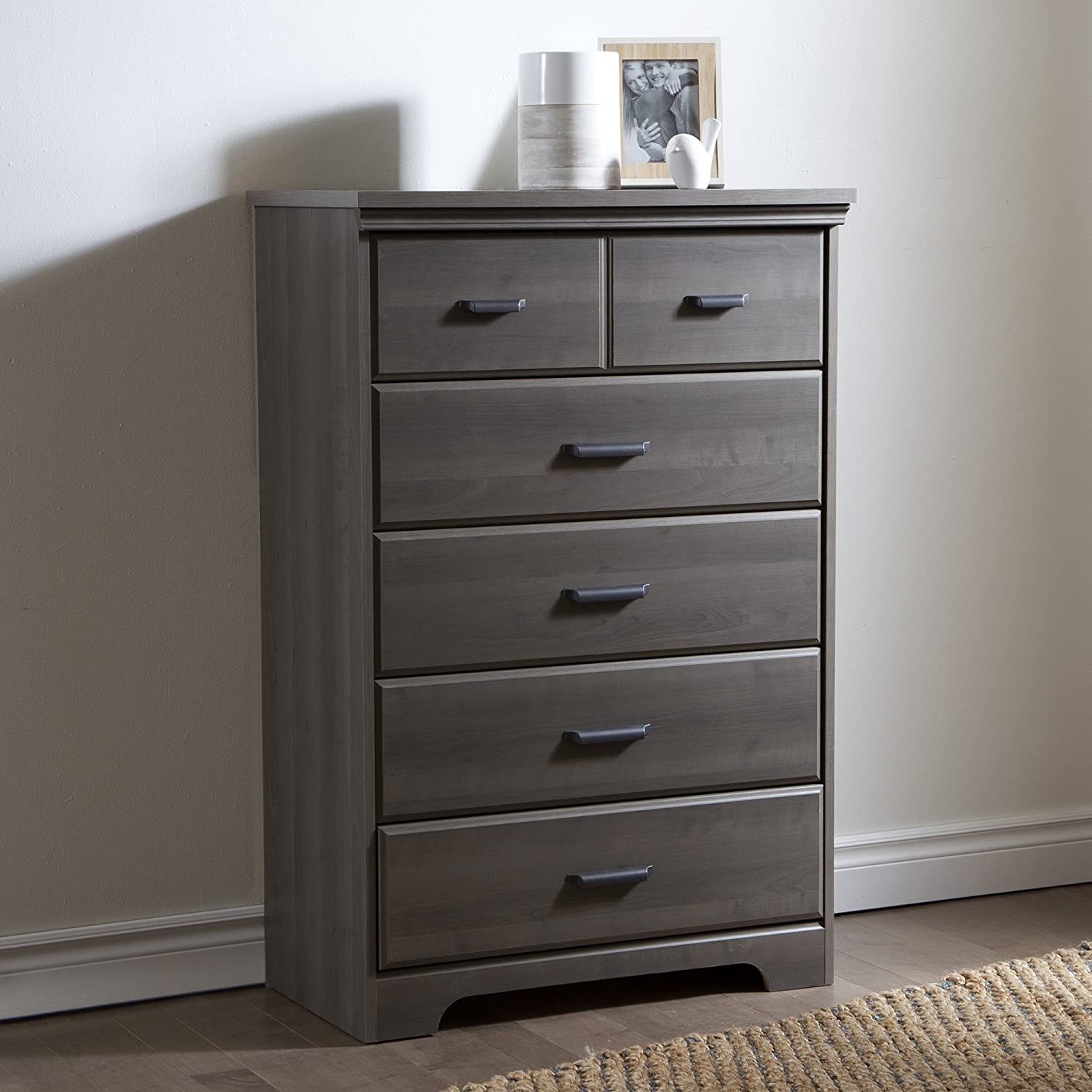 South Shore Furniture Versa 5 Drawer Chest Gray Maple Amazon Ca  # Meuble Tv Separation