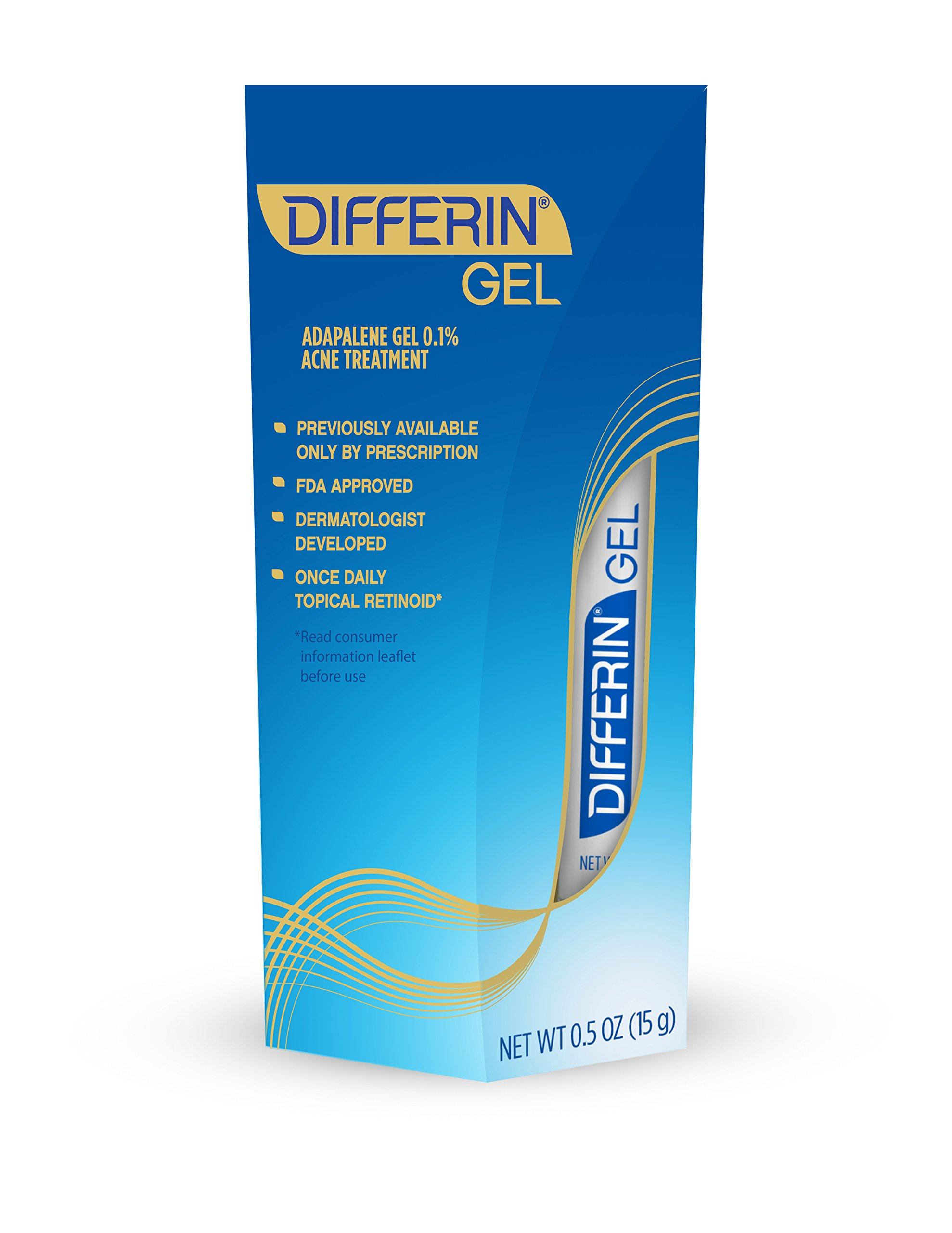 Differin Adapalene Gel 0.1% Prescription Strength Retinoid Acne Treatment (up to 30 Day supply), 15 gram