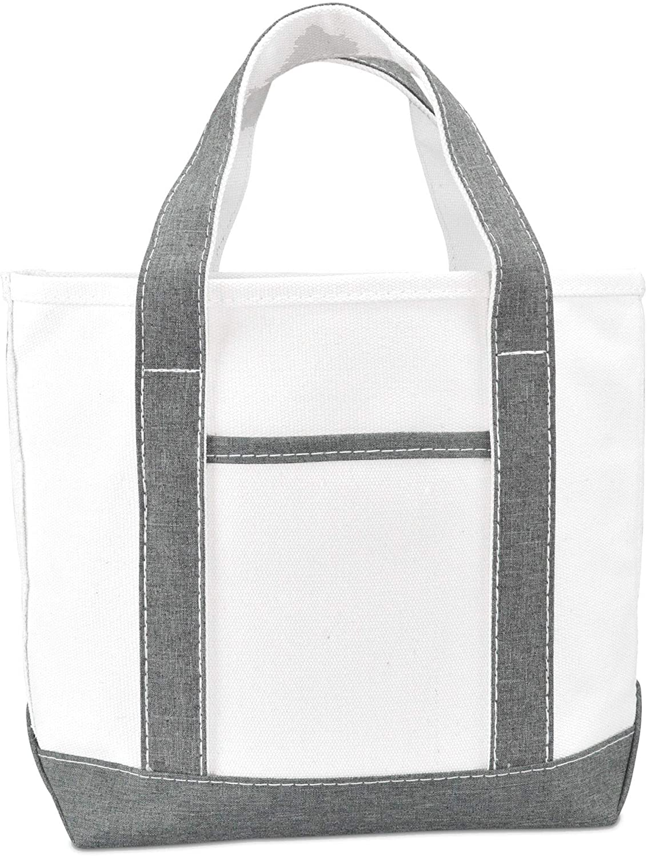 "DALIX 14"" Mini Small Cotton Canvas Party Favor Wedding Gift Tote Bag in Gray White"