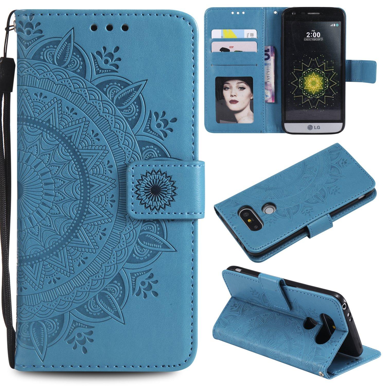 Lomogo Cover LG G5 [Fiore di totem], Custodia Portafoglio in Pelle Porta Carta di Credito con Chiusura Magnetica per LG G5 (H850) - LOHHA10716 Oro rosa