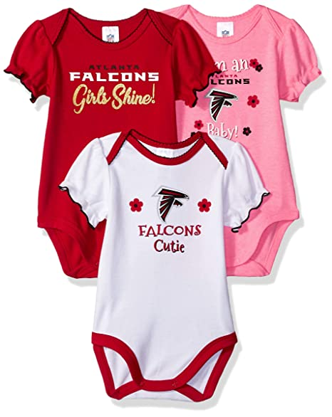 the latest 09079 ee84c NFL Atlanta Falcons Baby-Girls 3-Pack Short Sleeve Bodysuits, Pink, 6-12  Months