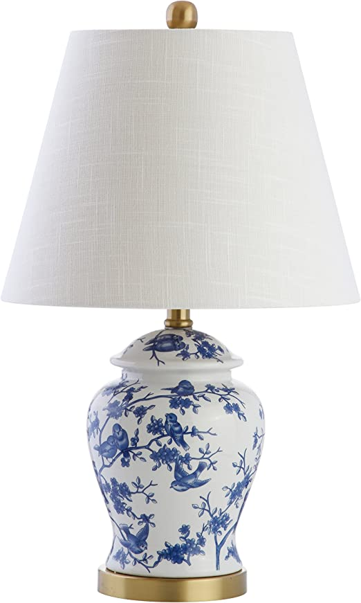 """Beautiful Blue and White Porcelain Temple Jar Table Lamp Chinoiserie Bird 29/"""""""