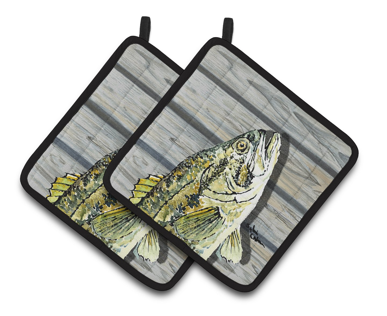 Caroline's Treasures 8493PTHD Fish Bass Small Mouth Pair of Pot Holders, 7.5HX7.5W, Multicolor
