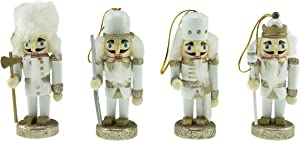 Clever Creations Traditional Wooden Collectible Mini Nutcracker Figurine Christmas Tree Hanging Ornaments, Set of 4, Festive Holiday Décor, 100% Wood, 4 Inch Tall, White & Gold