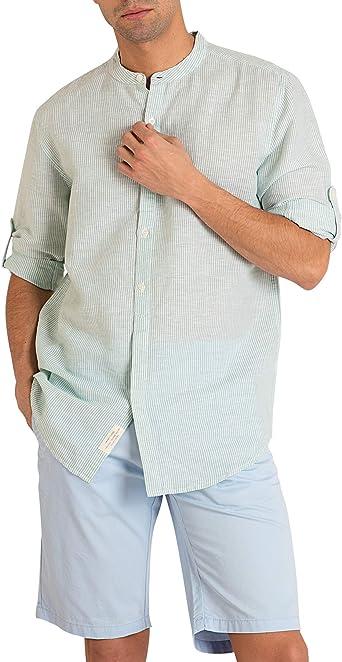 MO Camisa Hombre Cuello Mao de Rayas de Lino Y Algodón - Verde - Talla M: Amazon.es: Ropa y accesorios