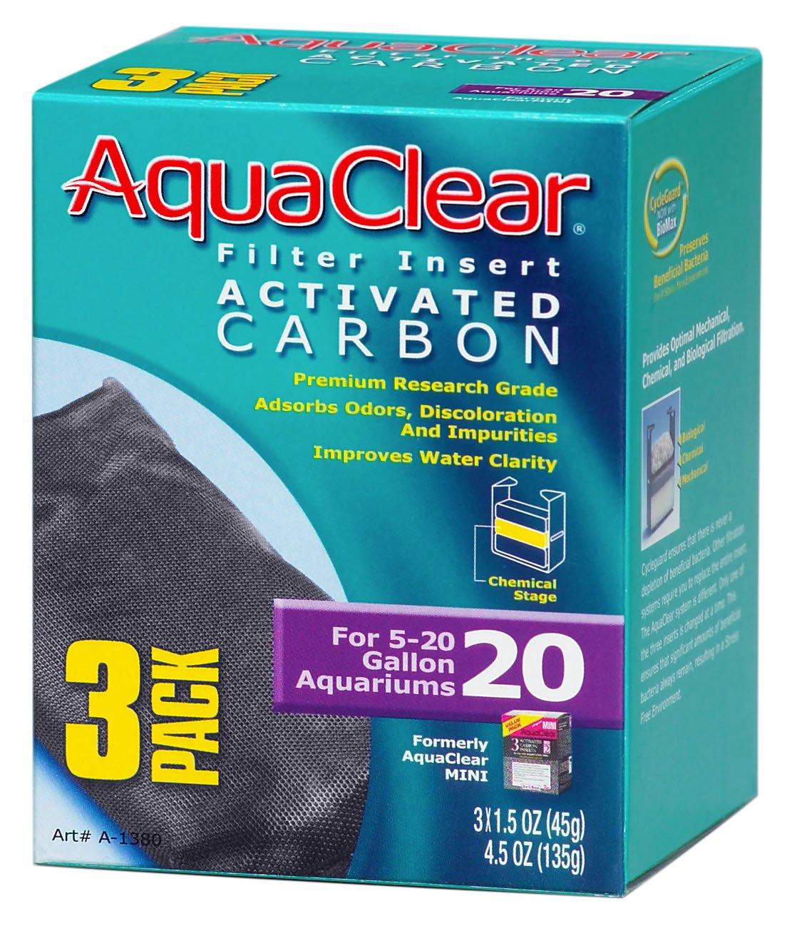 Aquaclear Activated Carbon Insert, 20-Gallon Aquariums, 3-Pack by Aqua Clear