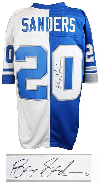 0fa23ba296d Image Unavailable. Image not available for. Color  Barry Sanders Signed  Detroit Lions Blue   White M N Split Jersey