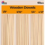 Wooden Dowel Rods for Craft - 60 pcs Round Wood Dowels 12 inch in Varying Sizes - 1/8, 3/16, 1/4 x 12 inch