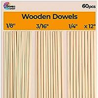 StesoSHOP Houten Dowel Rods voor Craft - 60 stuks ronde houten dowels 30 cm in verschillende maten - 1/8, 3/16, 1/4 x 12…