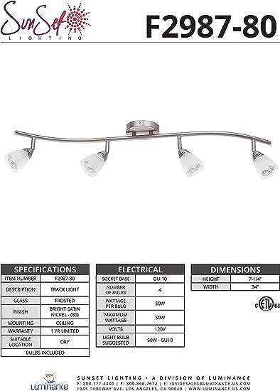 Luminance F2990-80 Contemporary 3 Halogen Track Light with Bright Satin Nickel Finish