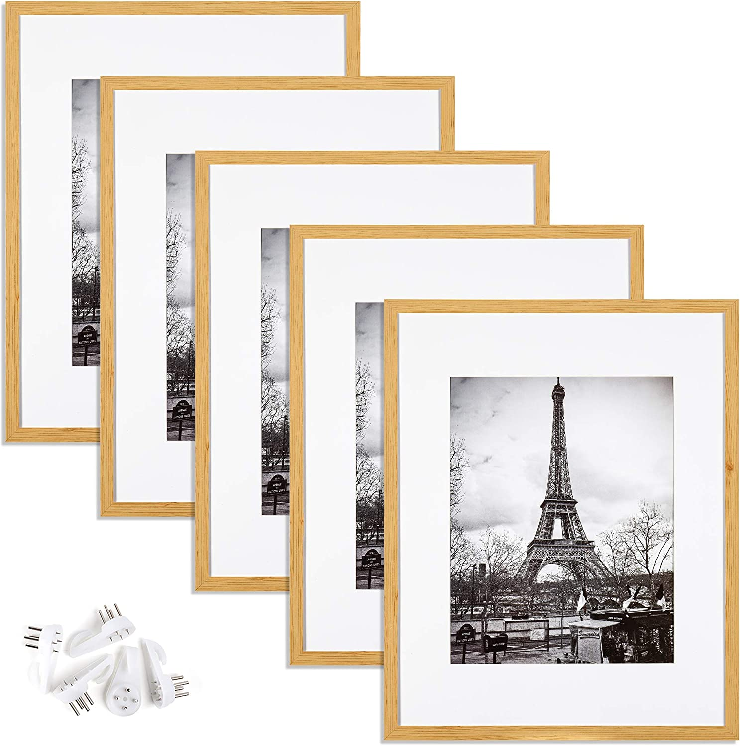 upsimples 16x20 Picture Frame Set of 5,Display Pictures 11x14 with Mat or 16x20 Without Mat,Wall Gallery Poster Frames,Oak