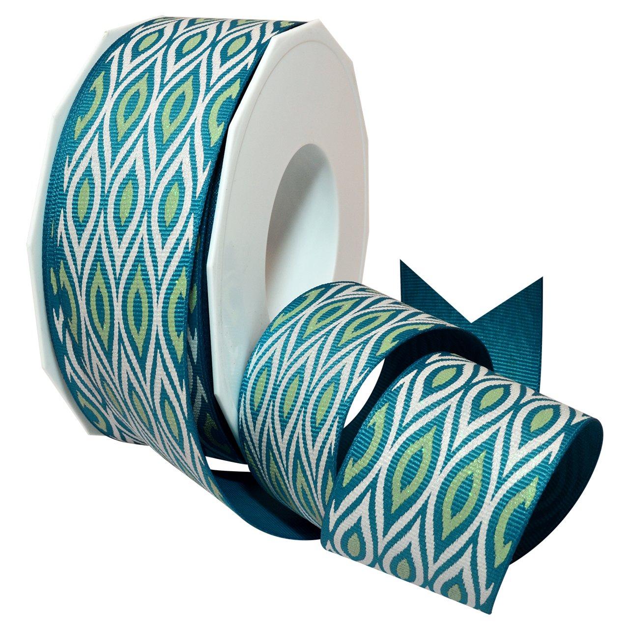 Morex Ribbon 7541.38/25-342 ポリエステル イカット スパークルリボン 1 1/2インチ x 25ヤード ティール/ライム B00X9SMV0W